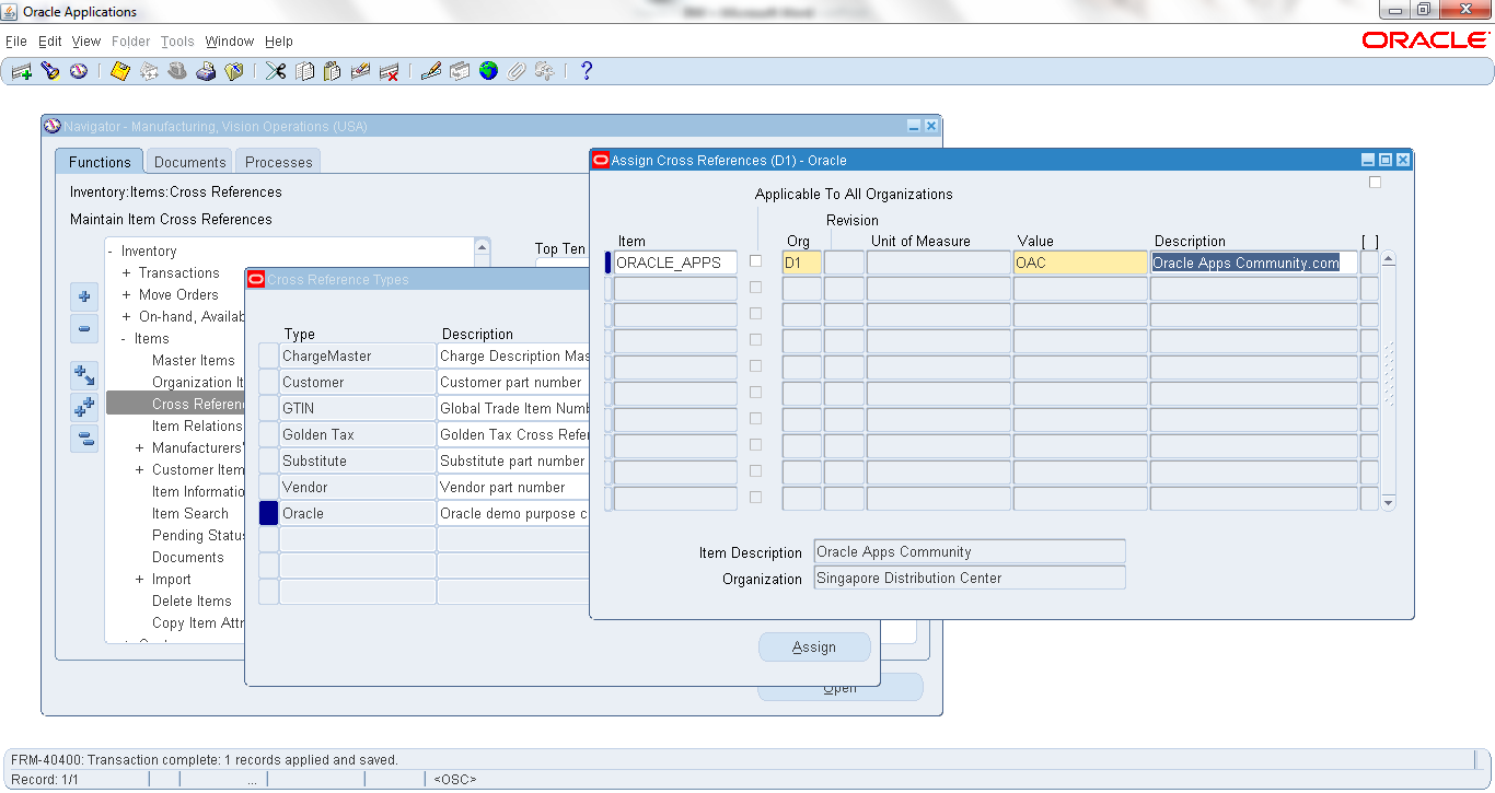 Item Cross References | ORACLE APPS COMMUNITY