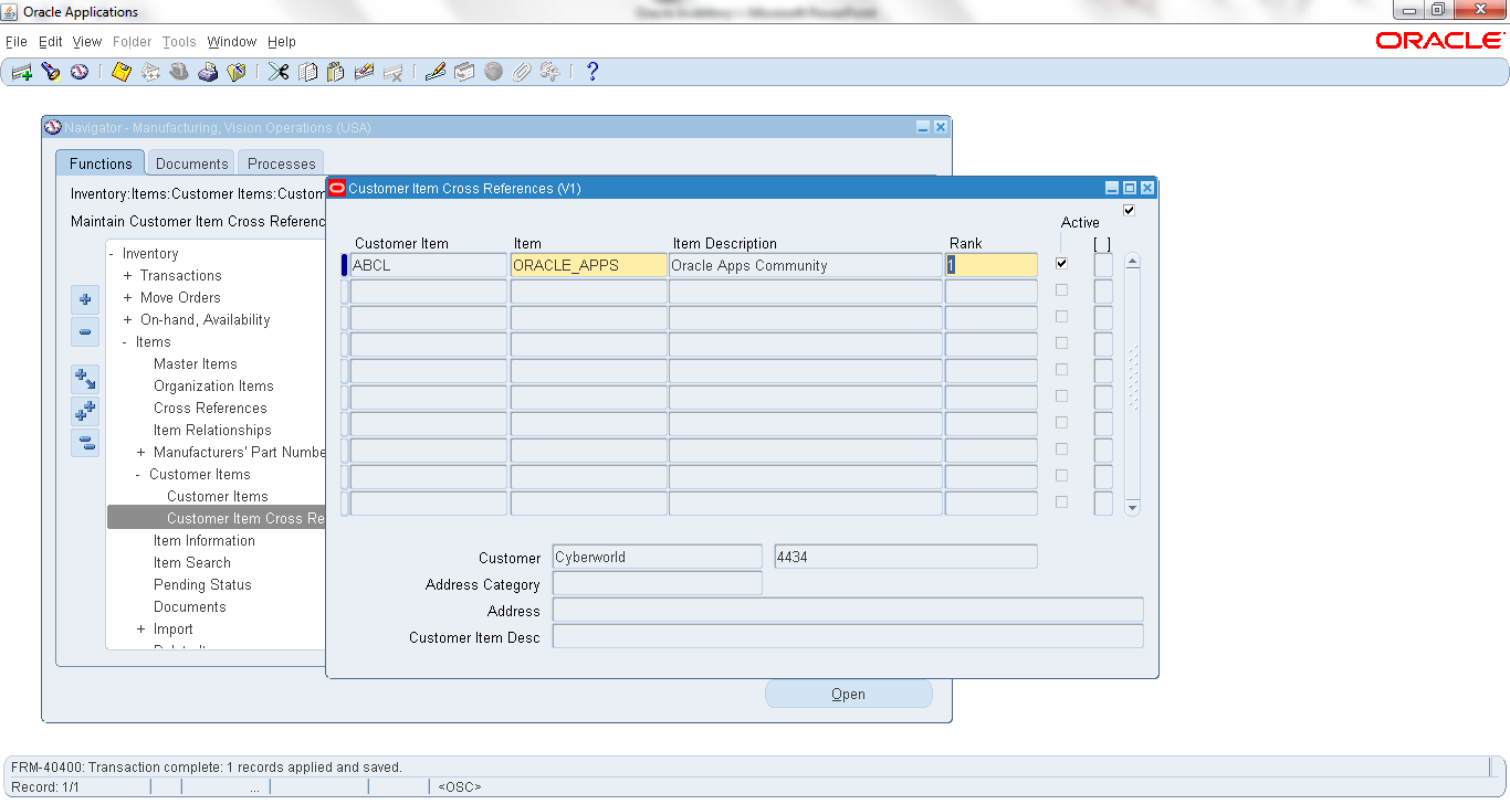 Create Customer Item Cross References | ORACLE APPS COMMUNITY